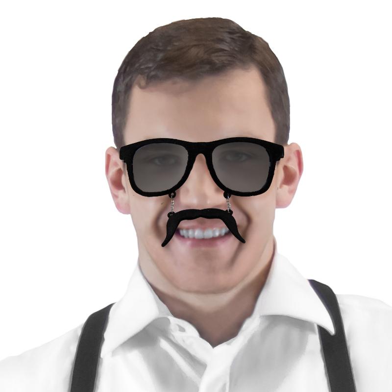 Incognito Sunglasses S1 Black Velvet – Dark Lens Mustache Wayfarer 7097