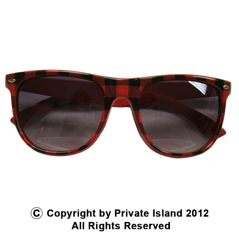 Red Buffalo Checker Wayfarer Style Sunglasses 1067
