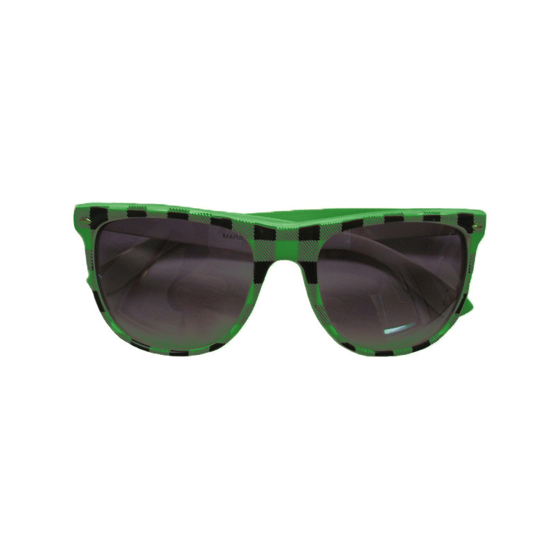 Green Buffalo Checker Wayfarer Style Sunglasses 1069