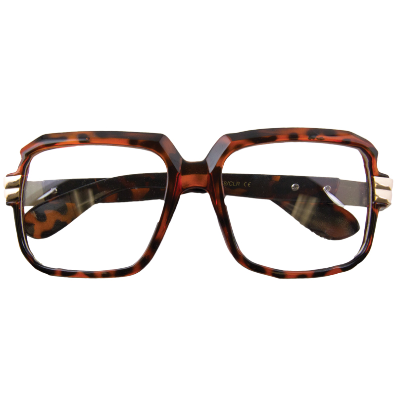 Rapper Style Brown Tortoise Frame/Clear Lens Sunglasses 1149