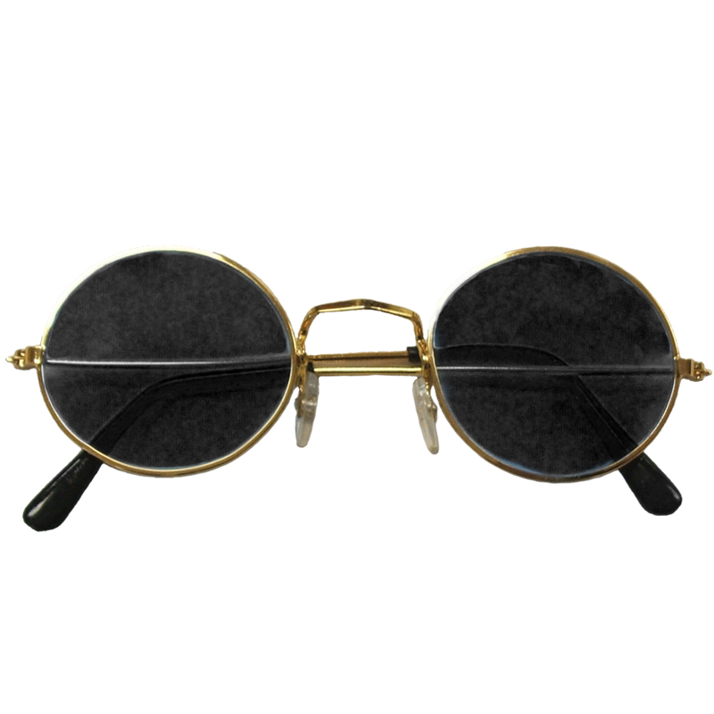 Gold Frame and Black Lens Lennon Style Sunglasses 1087